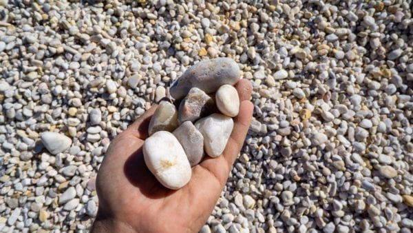 2x1 white River Stone in hand for scale and detail